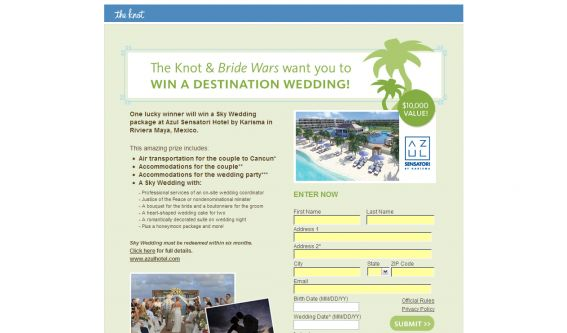 The Knot & Bride Wars Win A Destination Wedding! Sweepstakes
