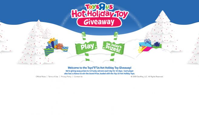 Toys 'R' Us Hot Holiday Toy Giveaway Sweepstakes and Instant Win Game