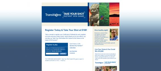 Transitions Take Your Shot Instant Win Promotion