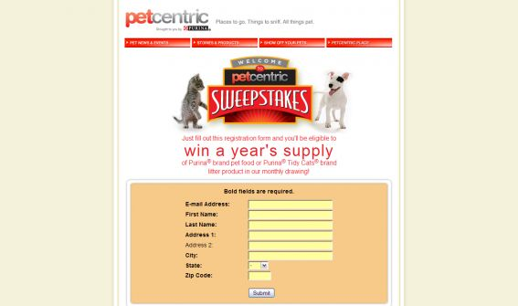 Welcome to Petcentric Sweepstakes