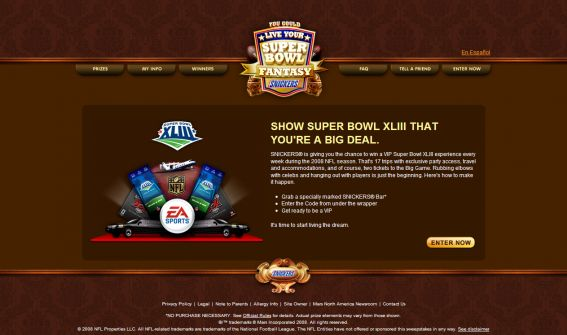 Live Your Super Bowl Fantasy with Snickers Sweepstakes
