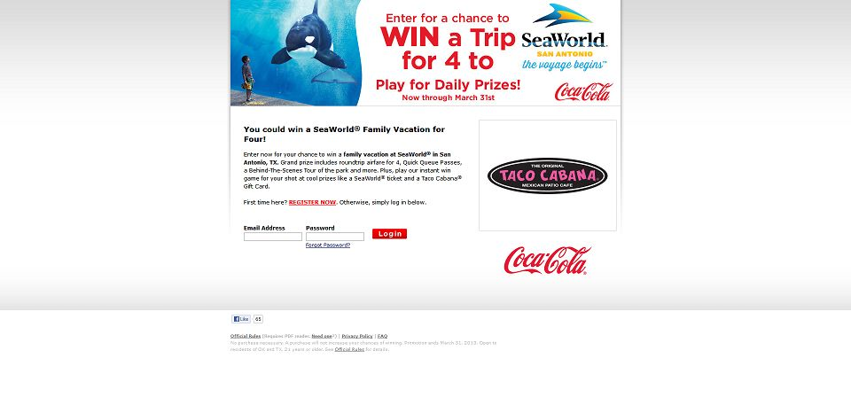 Coca-Cola & Taco Cabana SeaWorld Vacation Giveaway