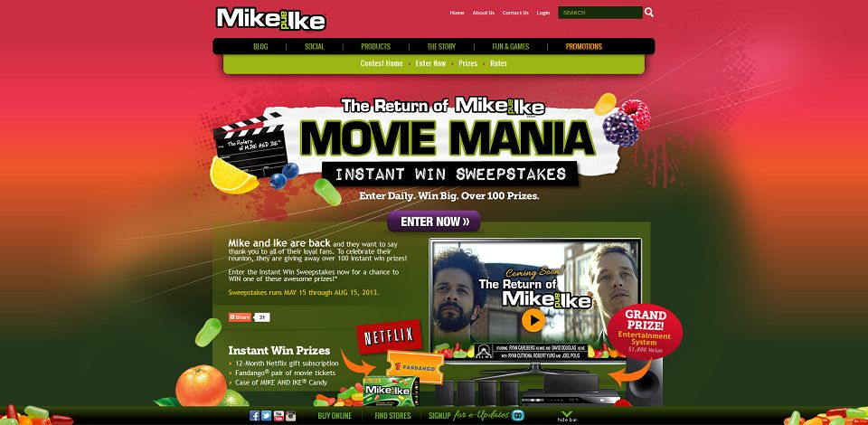 mike and mike sweepstakes return of mike and ike movie mania sweepstakes 7205