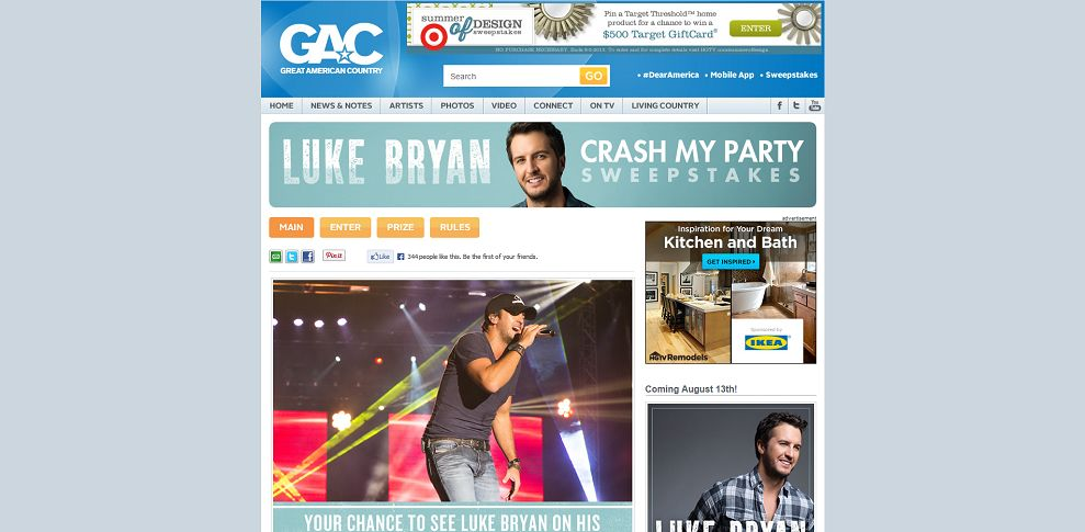 gactv sweepstakes gac s luke bryan crash my party sweepstakes 9263