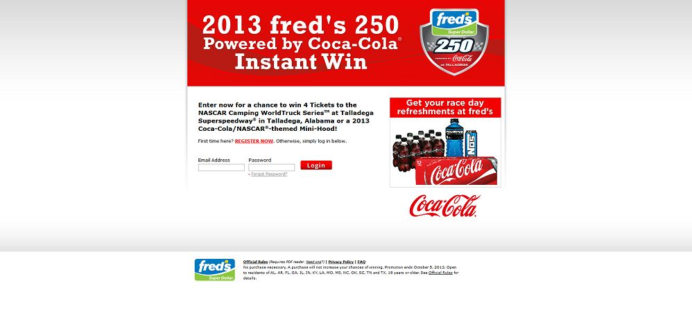 2013 Fred's 250 Powered by Coca-Cola Instant Win Game
