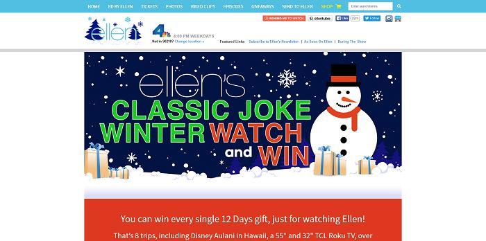 Ellen's Classic Joke Winter Watch And Win Contest