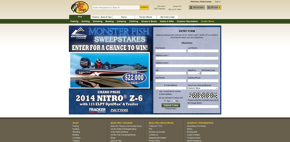 bass pro shop monster fish sweepstakes basspro com monsterfish bass pro shops monster fish 3205