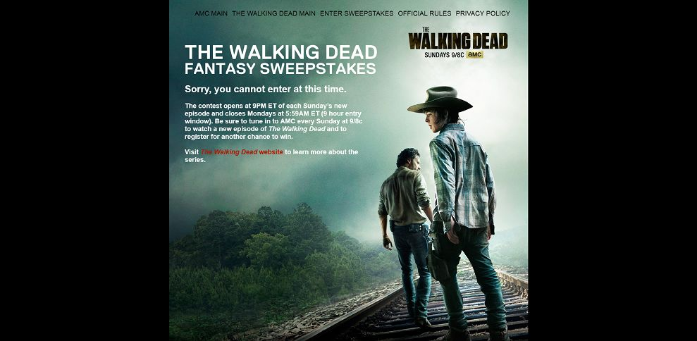walking dead amc sweepstakes thewalkingdeadfantasysweepstakes com amc s the walking 1282