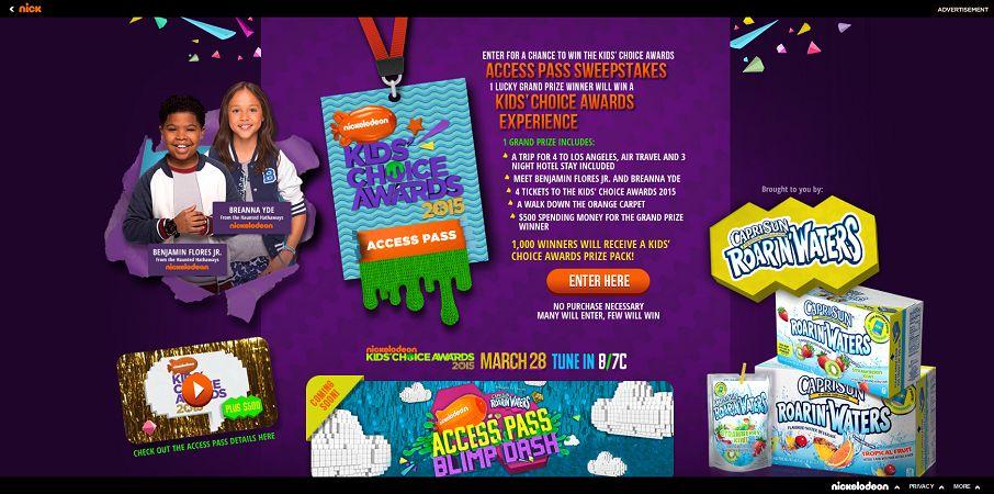 nick.com/CapriSun - Kids' Choice Awards Access Pass Sweepstakes