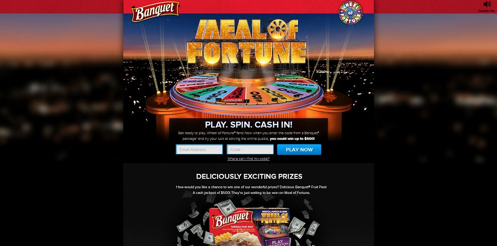 Banquet Meal of Fortune Instant Win and Sweepstakes : Play