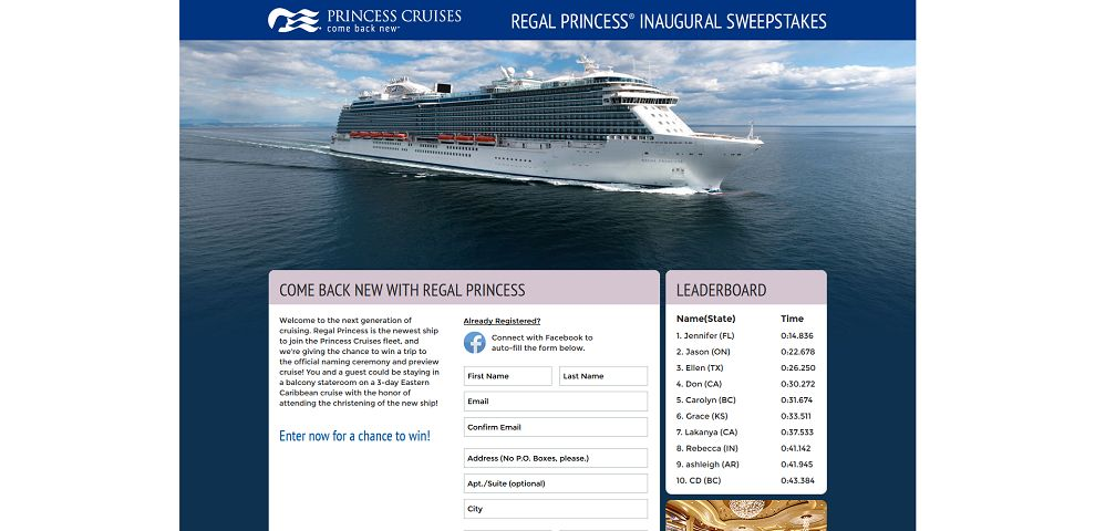 regal sweepstakes princess cruises regal princess inaugural sweepstakes 6098