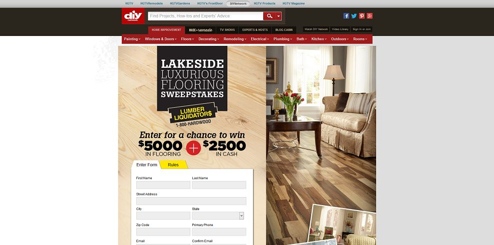 lumber liquidators hgtv sweepstakes lumber liquidators lakeside luxurious flooring sweepstakes 222