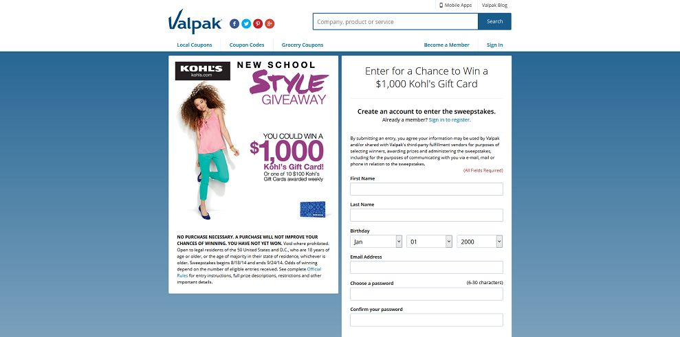 Valpak Kohls Gift Card Sweepstakes At Up To 1000 In Cards