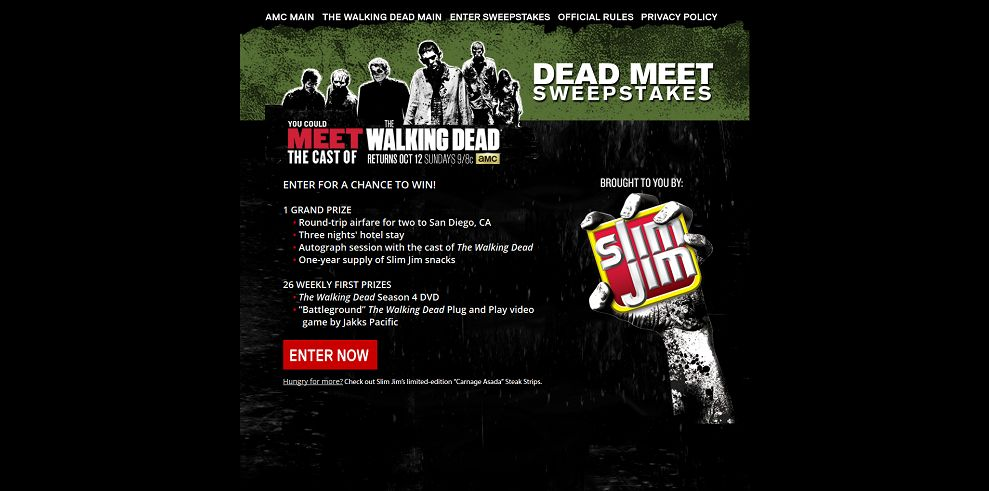walking dead amc sweepstakes the walking dead s dead meet sweepstakes amc com 1002