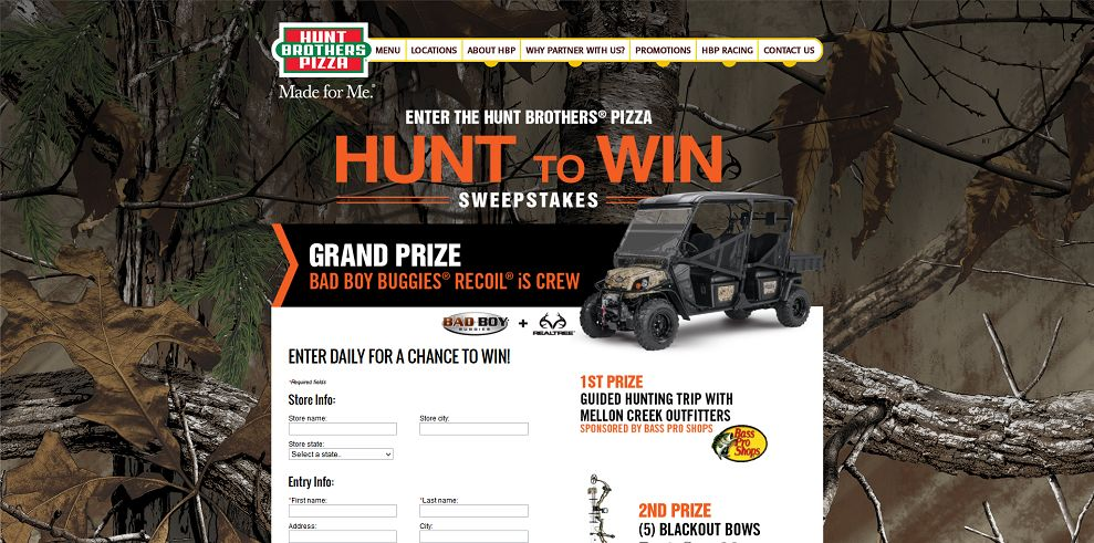 huntbrotherspizza sweepstakes enter the hunt brothers pizza hunt to win sweepstakes at 5970