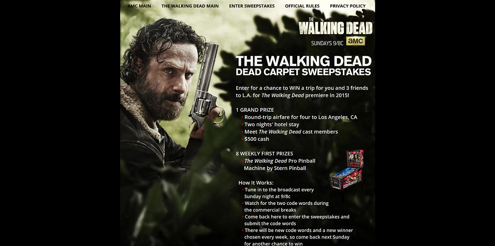 walking dead amc sweepstakes amc s the walking dead dead carpet sweepstakes amc com 8030