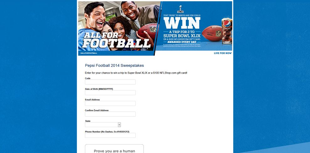 Pepsi Football 2014 Sweepstakes at Sodexo : Win A Trip To Super Bowl