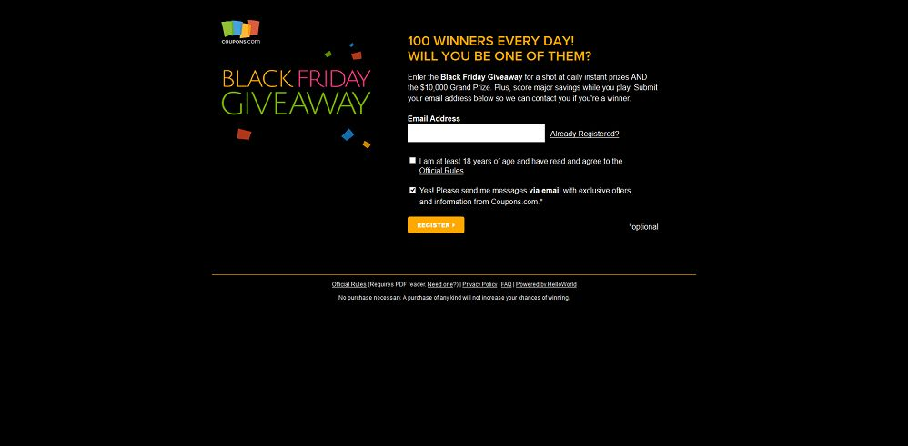 Coupons.com Black Friday - Cyber Monday Giveaway