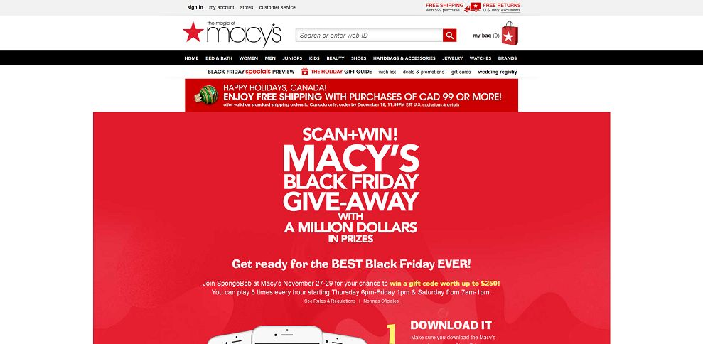 Macy's Black Friday Give-Away With A Million Dollars In Prizes Sweepstakes