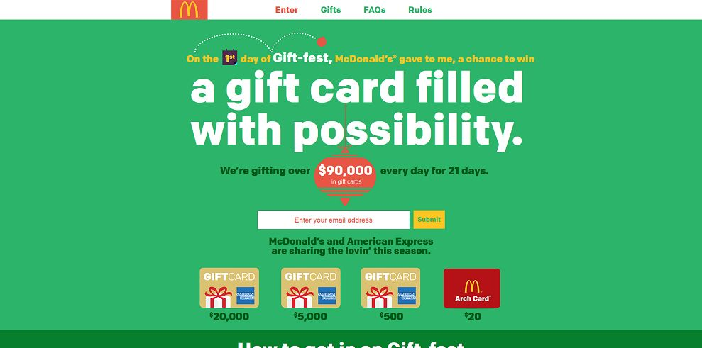 McDonald's 21 Days of Gift-fest Sweepstakes (mcdgiftfest.com)