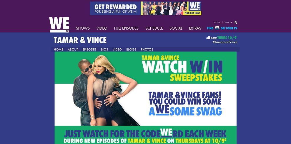 WEtv Tamar and Vince Watch & Win Sweepstakes (Secret Code)
