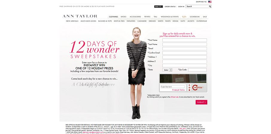 Ann Taylor 12 Days of Wonder Sweepstakes