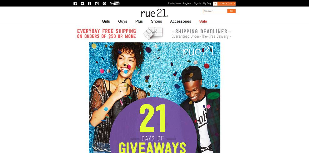 rue 21 21 Days of Giveaways Sweepstakes (rue21.com/21giveaways)