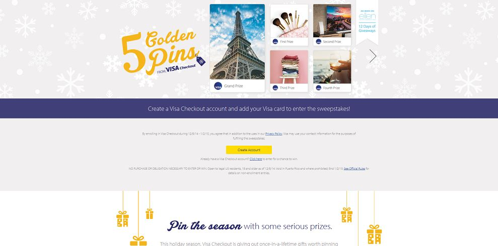 Visa Checkout 5 Golden Pins Sweepstakes
