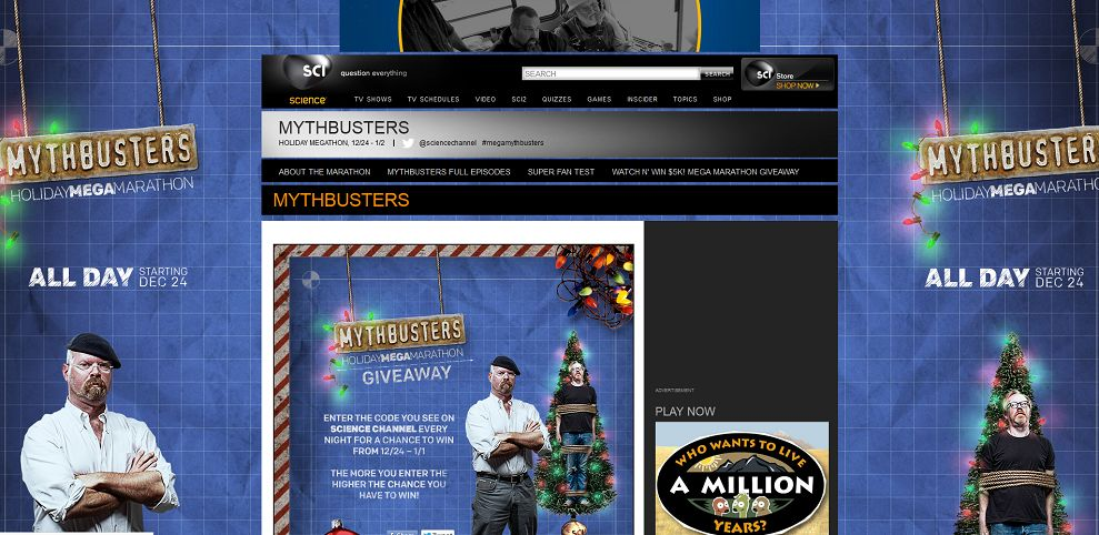 Mythbusters Holiday Mega-Marathon Sweepstakes (sciencechannel.com/giveaway)