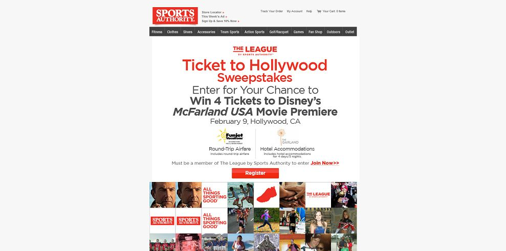 Sports Authority Ticket to Hollywood Sweepstakes