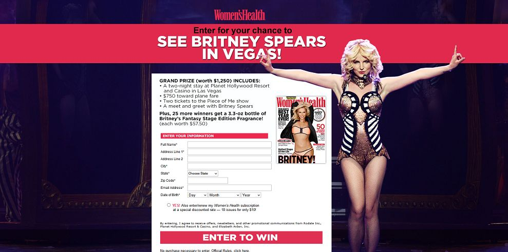 Women's Health Britney Spears Piece of Me Sweepstakes (womenshealthmag.com/pieceofmesweeps)