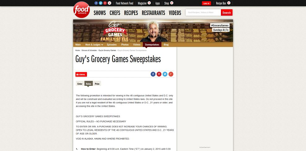 Guy's Grocery Games Sweepstakes (foodnetwork.com/grocerysweeps)
