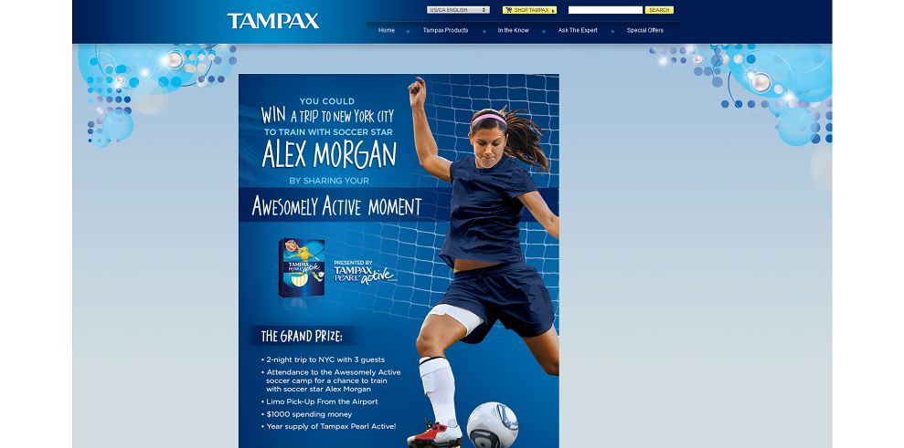 Tampax Pearl Alex Morgan #AwesomelyActive Experience Sweepstakes