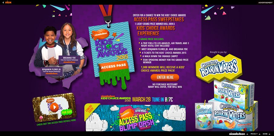 Kids' Choice Awards Access Pass Sweepstakes - nick.com/roarinwaters