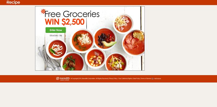 Recipe.com/SweepsGrocery - Recipe.com $2,500 Grocery Sweepstakes
