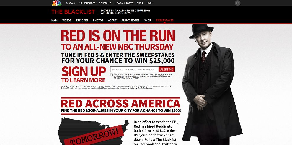 The Blacklist Tune in to Win Sweepstakes (RedOnTheRun.com)