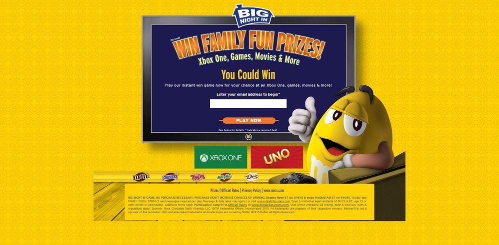 The Big Night In Game at FamilyFun.Mars.com
