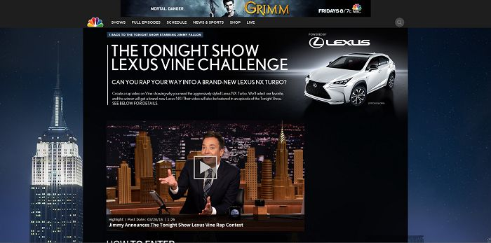 The Tonight Show Lexus Vine Challenge Contest