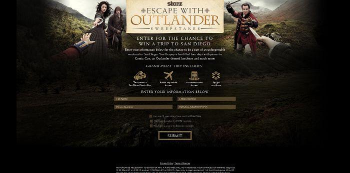 Starz Escape with Outlander Sweepstakes (StarzOutlanderSweeps.com)