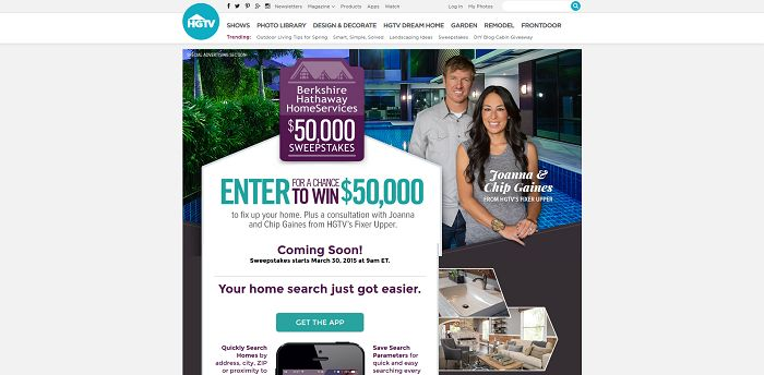 HGTV Berkshire Hathaway HomeServices $50,000 Sweepstakes (50kFixUp.com)