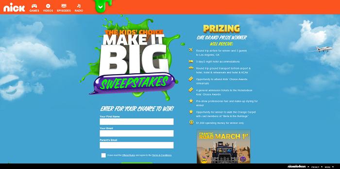 Nick.com/KCASweeps - Kids' Choice Awards Make It Big Sweepstakes