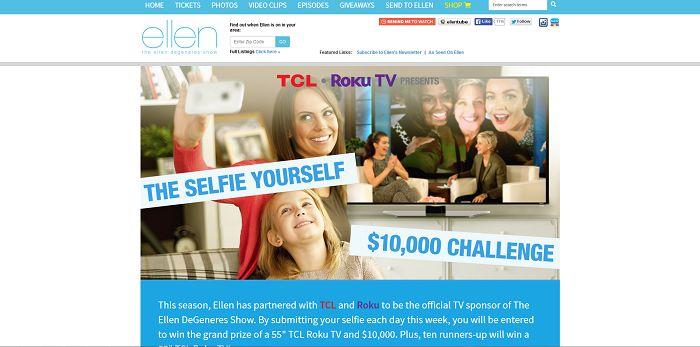 The Selfie Yourself $10,000 Challenge (EllenTV.com/TCLRoku)