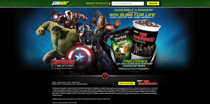 SUBWAY Where Super Heroes Eat And Drink Too Instant Win Game (Codes)