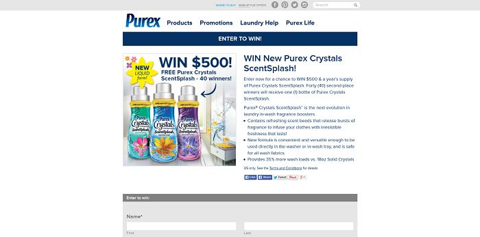 Win New Purex Crystals ScentSplash Sweepstakes