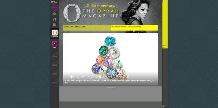 O, The Oprah Magazine 15 Days of Sparkle Sweepstakes (Oprah.com/15DaysOfSparkle)
