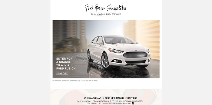 RentTheRunway.com/FordFusion: Ford And Rent The Runway Making It Happen Sweepstakes