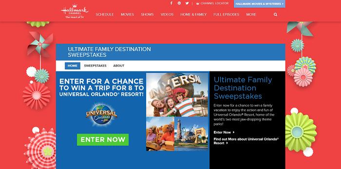 HallmarkChannel.com/Universal - Hallmark Channel Ultimate Family Destination Sweepstakes 2016