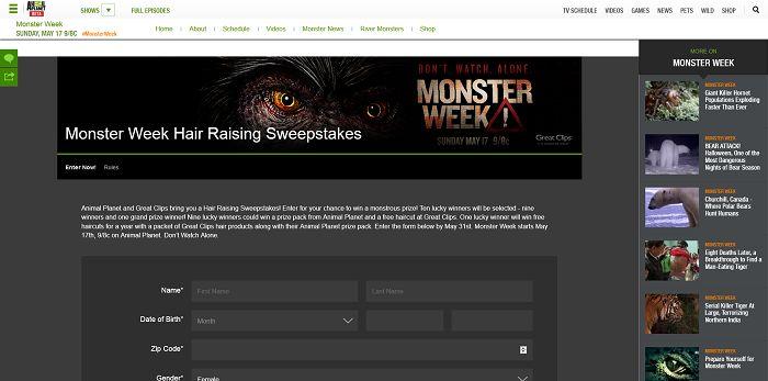 Animal Planet's Monster Week Hair Raising Sweepstakes