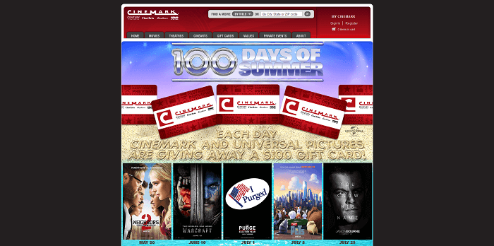 Cinemark 100 Days of Summer Sweepstakes 2016