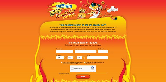 Chester's Flamin' Hot Summer Promotion (Summer.Cheetos.com)
